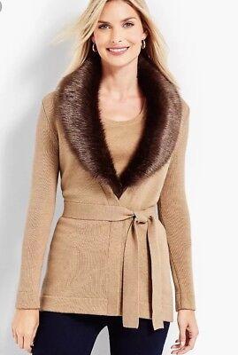 $ 169 Nuova Con Etichetta Talbots Ladys Lana Merino Collo In Finta Pelliccia