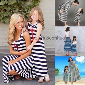 Summer-Family-Clothes-Mother-Daughter-Beach-Dresses-Womens-Kids-Girls-Long-Dress