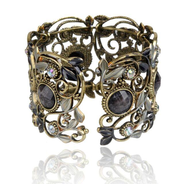 Vintage Bronze Résine Diamant Gemme Creux Fashion Sculpté Manchette Bracelet