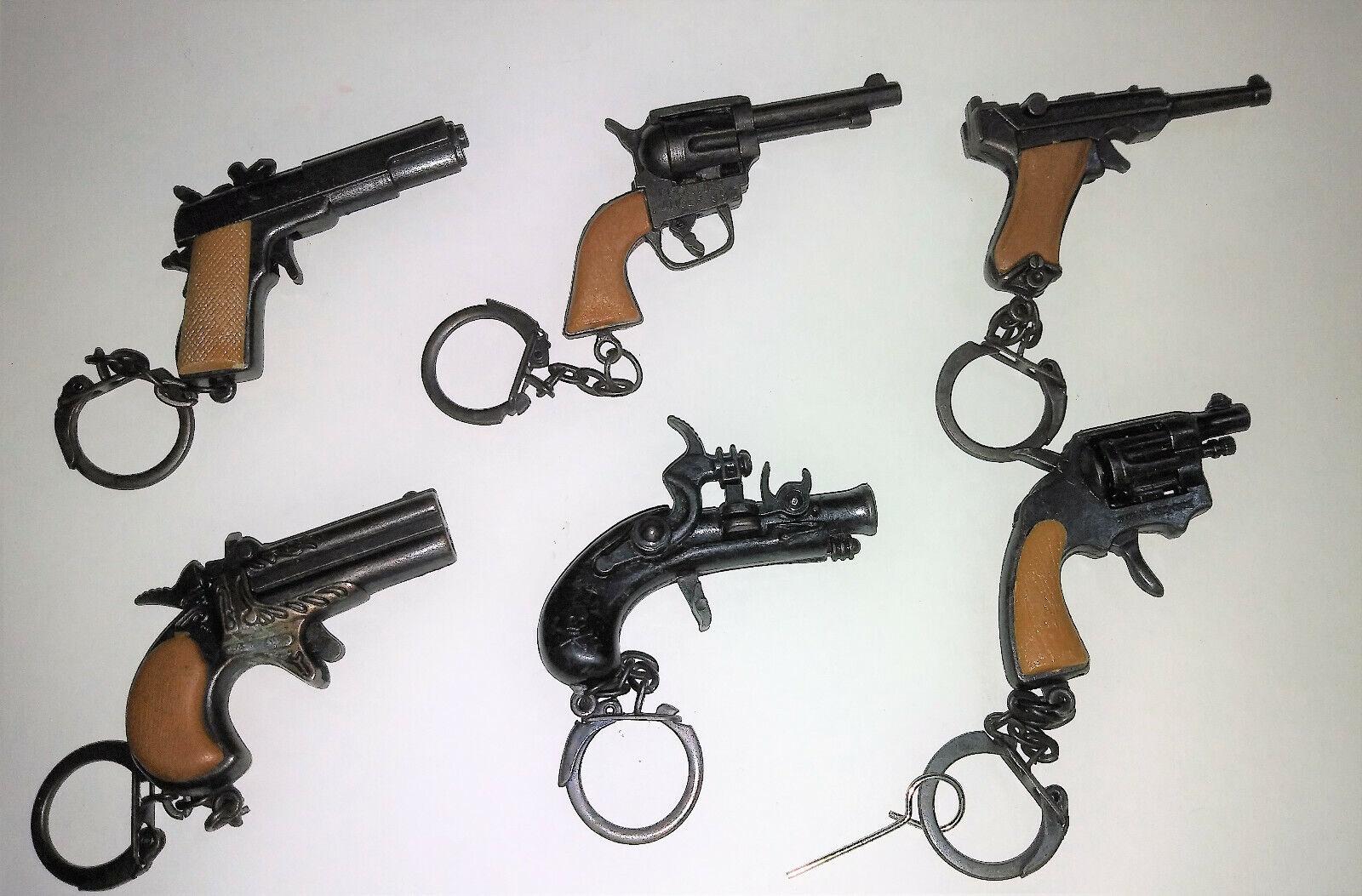 VINTAGE LOT 6 MINI TOYS METAL GUN KEY CHAIN - EXCELLENT ITEM