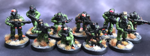 Ten Painted 28mm Stargrave Crew, Pig Iron Productions, Kolony Rebels