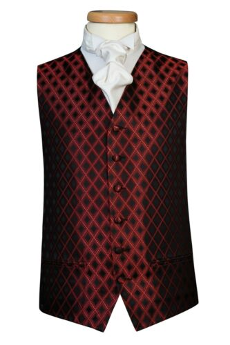 extra large large Black /& Red Diamond Check Waistcoat UK A8 small medium