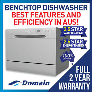 NEW-DOMAIN-6-PLACE-BENCHTOP-COUNTERTOP-DISHWASHER-SILVER-2YR-WARRANTY