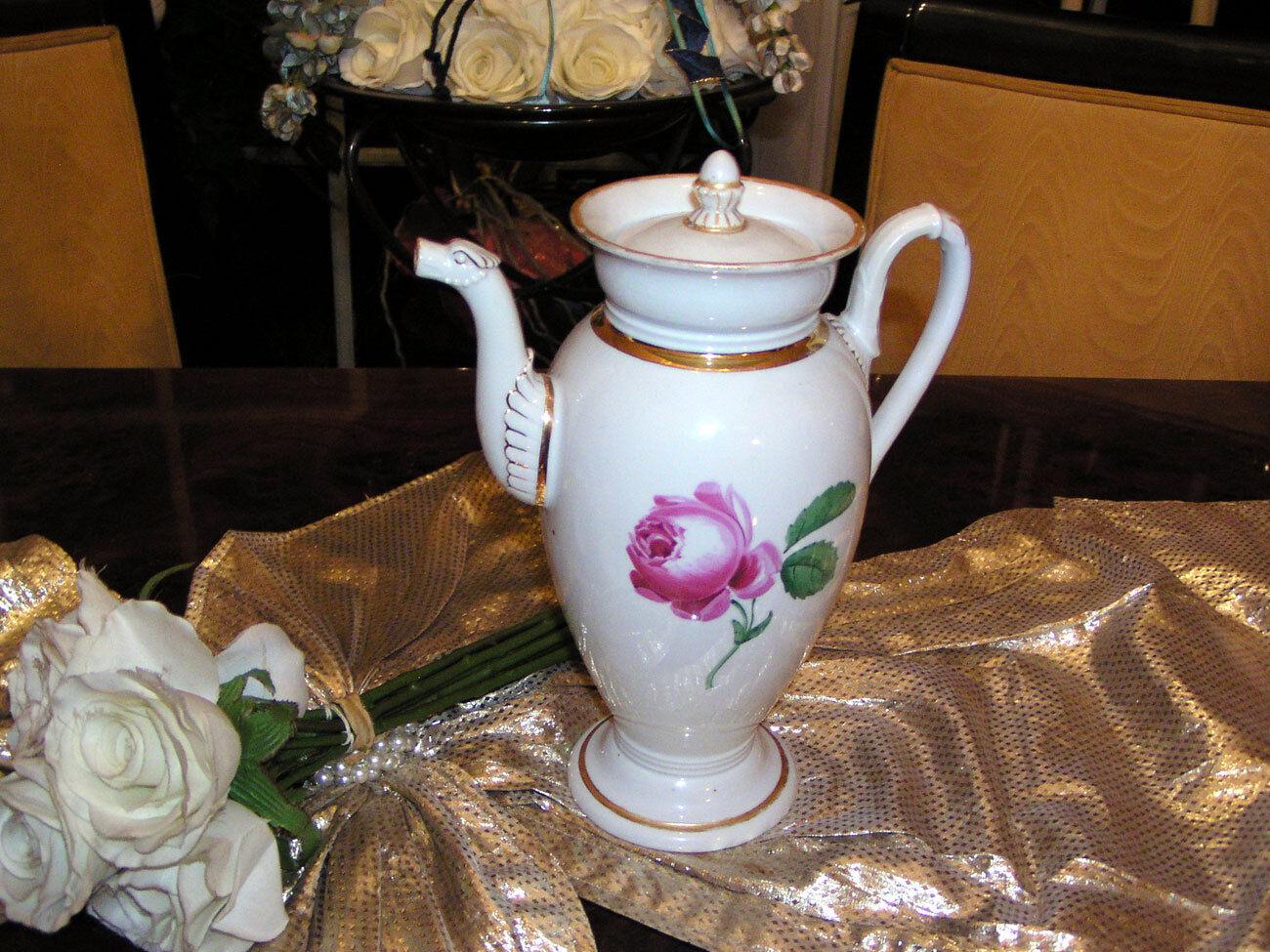 Antike Kaffeekanne Meissen Rote Rosa Rosa Rosa Schwanenhals N2 338264
