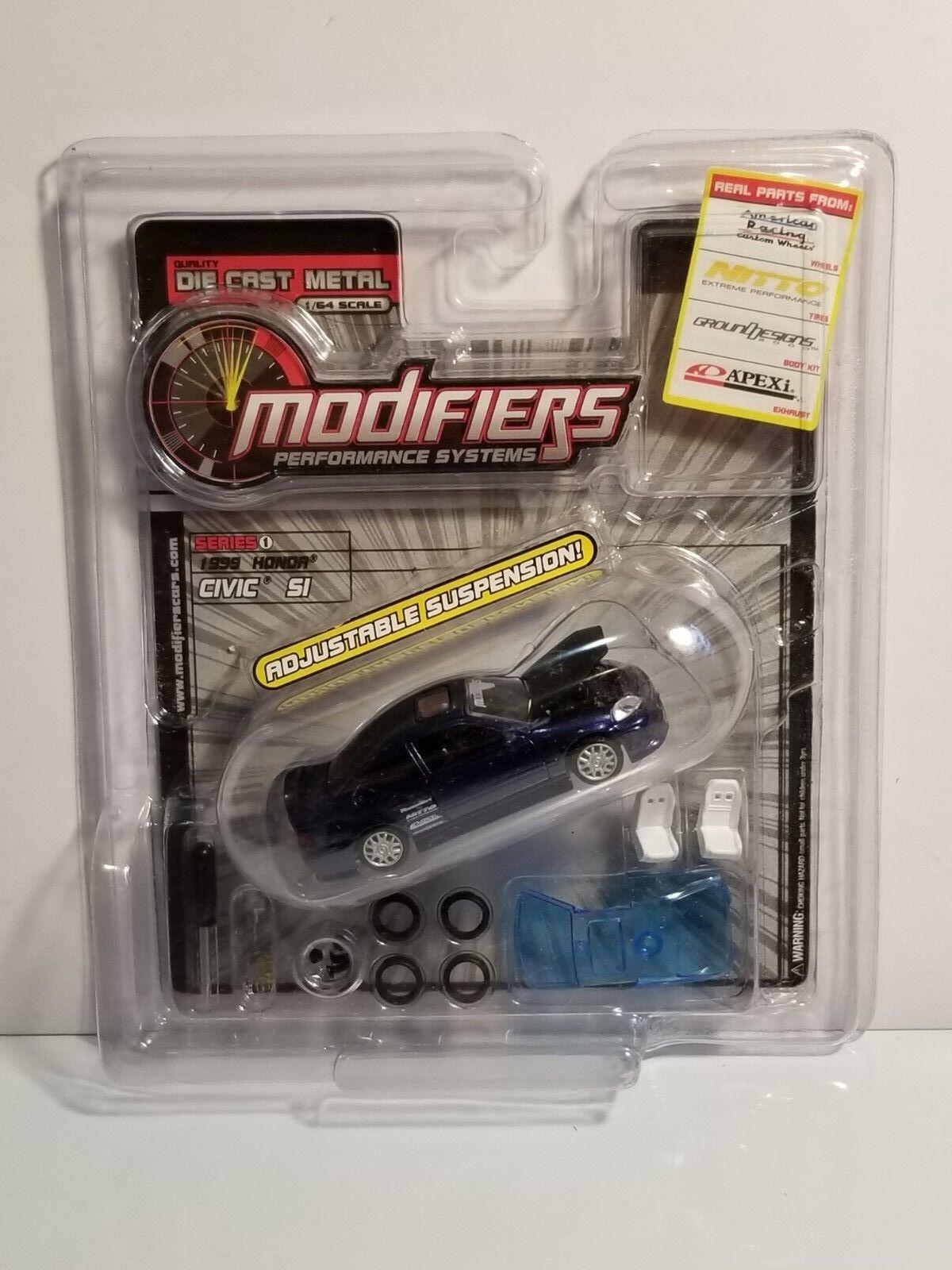 RARE Modifiers Series 1 1999 Honda Civic Die Cast Dark bluee 1 64 MODEL REPLICA