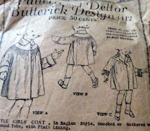 RARE VTG 1920s GIRLS COAT Butterick Sewing Pattern 1
