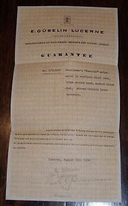 1935 Gubelin Watch Guarantee for Reverso Wristwatch E. Gubelin Lucerne
