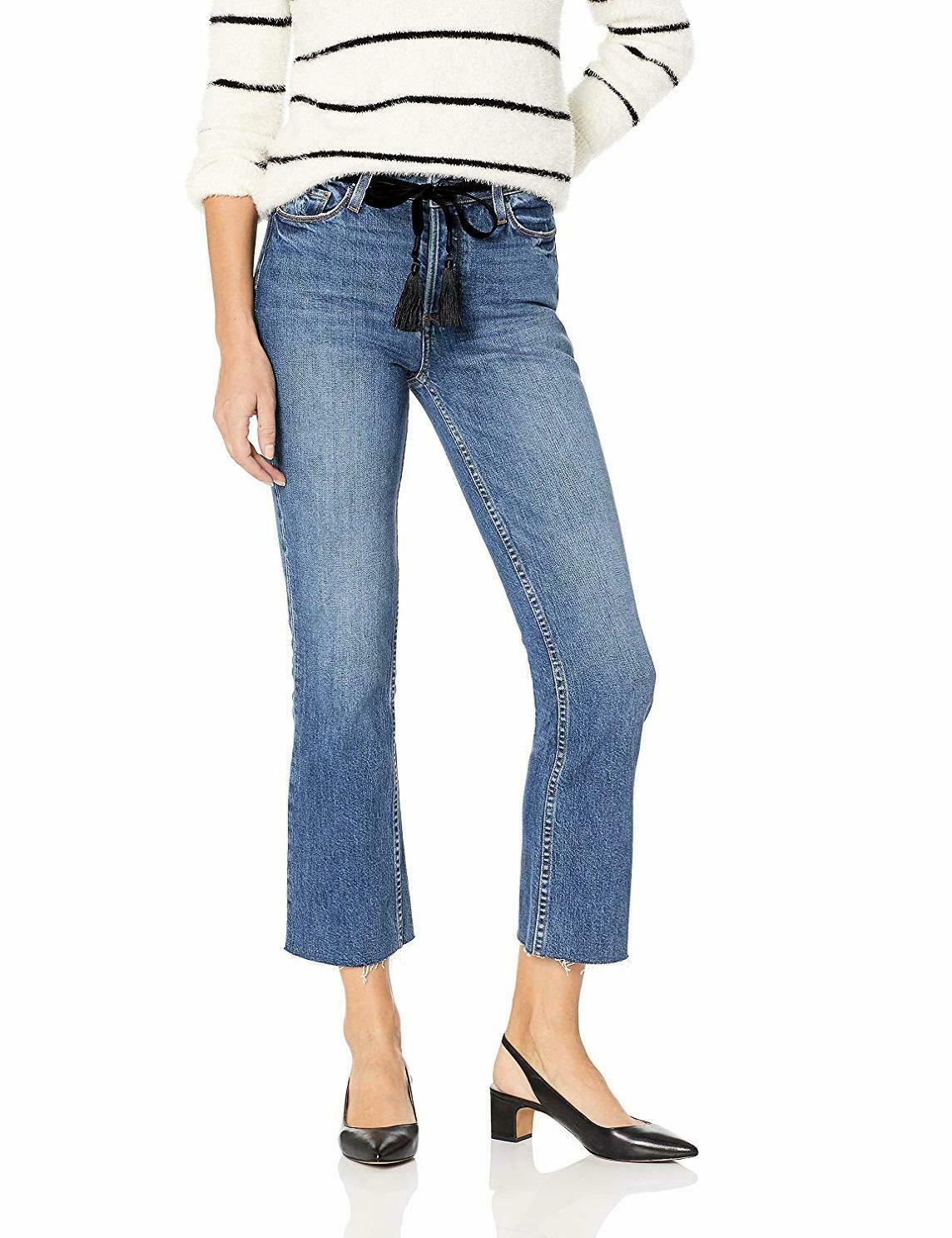 PAIGE Women's Colette Mid Rise Jean W  Covered Button Fly and Raw Hem