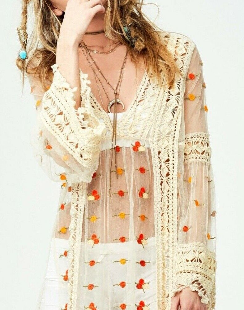 Free People Emboirderot Crochet Floral Finest Heart Sheer Maxi Top ☮ SMALL