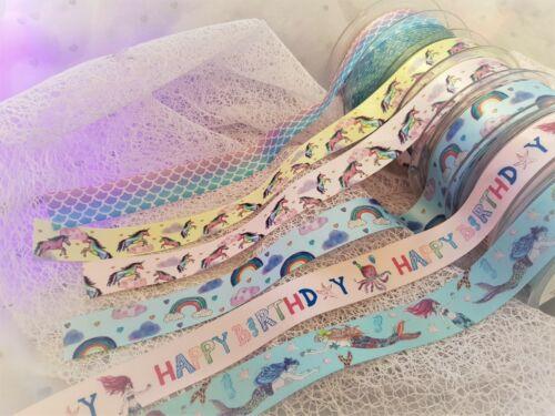 Berisfords BIRTHDAY Girl Unicorn Rainbow Mermaid Sparkle Ribbon 25mm **NEW **