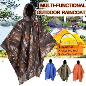 3in1 Poncho Waterproof Hoody Raincoat Camping Mat Hiking Rain Coat Cover Outdoor