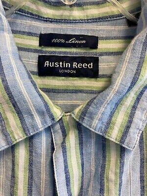 Austin Reed London Shirt Size Xl 100 Linen Blue Striped Short Sleeve Ebay