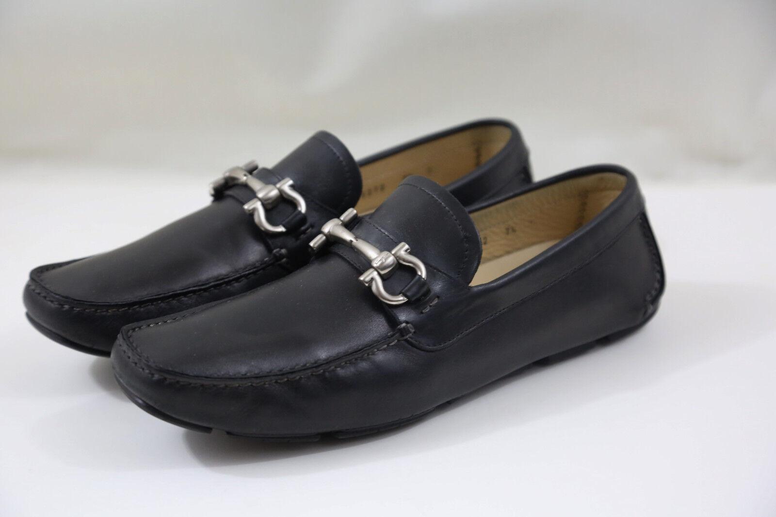 + SALVATORE FERRAGAMO  Parigi  en cuir noir Pilotes Taille 7.5 D fabricants Standard prix de détail  520