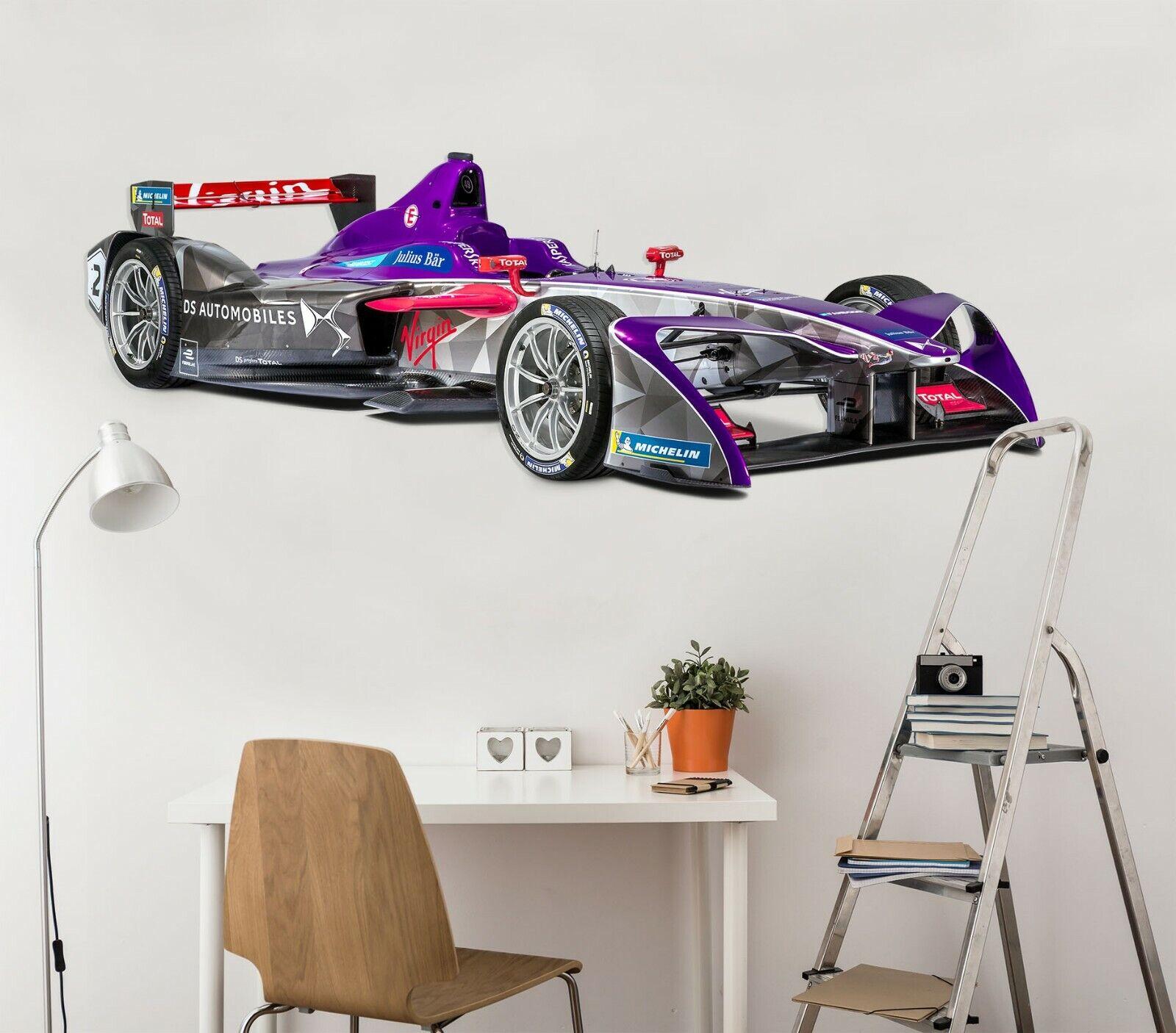 3D Virgin Racing N18 Car Wallpaper Mural Poster Transport Wall Stickers Amy