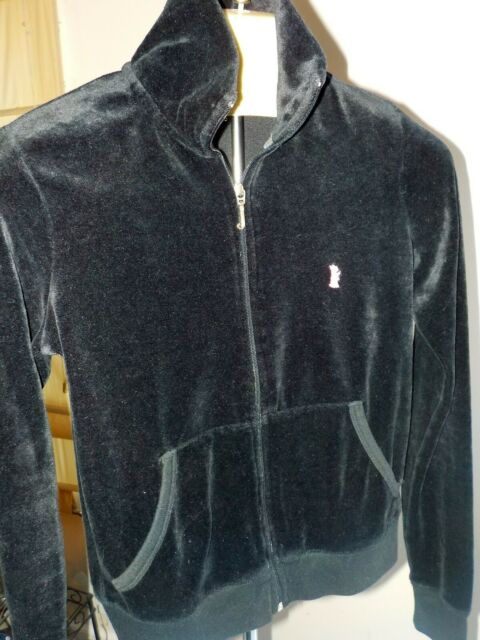 Juicy Couture Black Velour Zip Front Hooded Jacket Silver