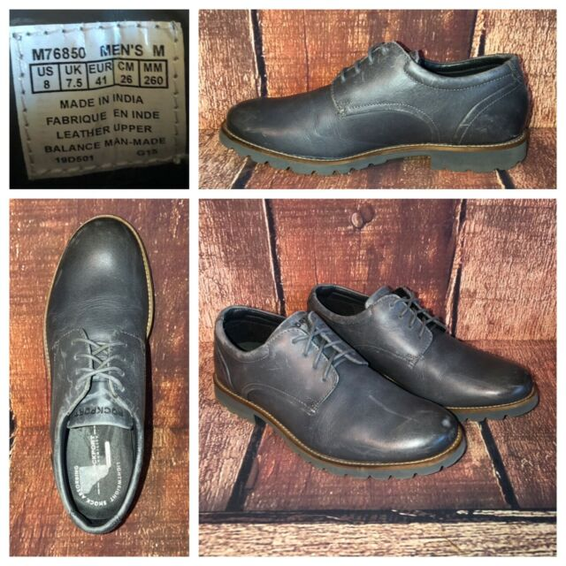 Rockport Sharp Ready Colben Leather Oxfords Mens Sz 8 Lightweight Grey Flexible