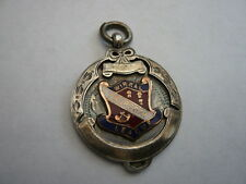 QUALITY VINTAGE STERLING SILVER ENAMEL POCKET WATCH CHAIN FOB MEDAL WIRRAL 1936