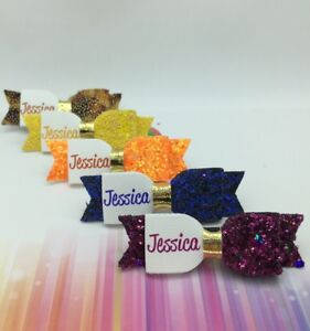 Any-Name-5-x-Glitter-Hair-Bow-2-034-Personalised-Glitter-Bow-Bundle-AUTUMN