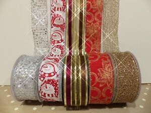 Extra Wide Wired Ribbon | Extra Wide Christmas Wired Edge Ribbon Mixed Patterns 63mm Wide