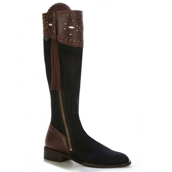 Traditional Spanish Riding Stiefel in Plush Night Blau with leather trim - 090CA