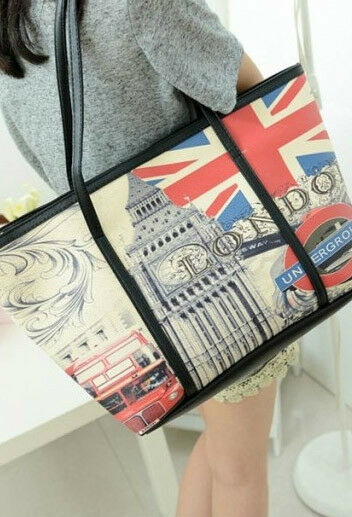European and American vintage English flag handbags Casual shoulder large bag