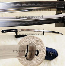 Japanese Wakizashi Silver Tsuba Clay Tempered Unokubi-Zukuri Blade Battle Ready