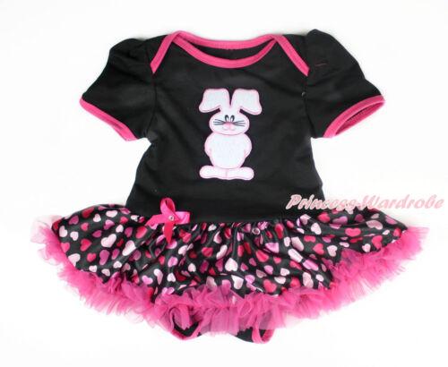 Infant Easter Rabbit Black Bodysuit Hot pink Hearts Pettiskirt Baby Dress NB-18M