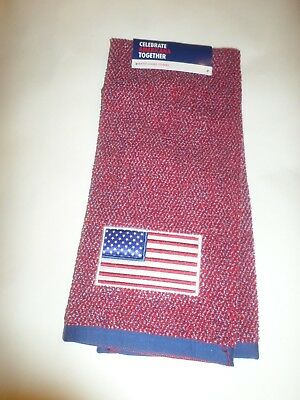 July 4 Red White /& Blue Fireworks Embroidered American Hand Towel NWT
