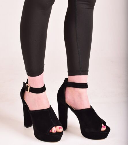 Ladies Womens High Block Heel Ankle Strap Boot Peep Toe Buckle Shoes Size 3-8