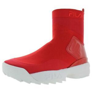 Fila-Womens-Disruptor-Stretch-Red-Sock-Sneakers-Shoes-5-Medium-B-M-BHFO-7521