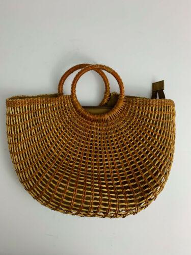 Straw HALF MOON woven purse