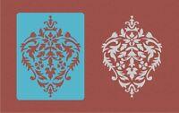 Damask Wall 2 Stencils Kit Large 11x8.5 Faux Mural Pattern Paint Stencil Aaa1