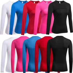 UK-Women-039-s-Compression-Long-Sleeve-Yoga-Fitness-Top-Sports-Gym-Workout-Baselayer