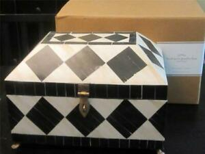 New In Box Pottery Barn Harlequin Jewelry Box Wood