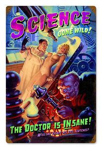 SCIENCE-GONE-WILD-Sexy-Pinup-Hildebrandt-GIANT-Vintage-Metal-Sign-amp-FREE-PRINT