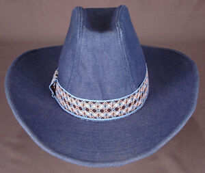 YA Youngan Cowboy Hat-Blue Denim-M 7 - 7 1 8-Western-Ranch-Band-Vtg ... b96aa11d828