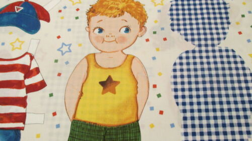 """Fabric Panel Boy Doll Paper Doll Cut outs summer clothes 15/""""  NewCastle Cotton"""