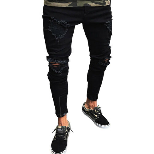 Men/'s Ripped Slim Fit Jeans Straight Destroyed Distressed Stretch Denim Pants