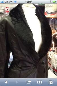 M-amp-S-Ladies-3-4-Length-Black-Faux-Leather-Jacket-Coat-Detachable-Fur-Collar-12-14
