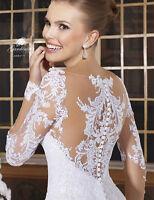 Weiß Elfenbein Spitze  A-Linie Ballkleid Hochzeitskleid Brautkleider Abendkleid