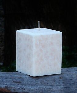 200hr GREEN TEA & LEMONGRASS Herbal Scented Square Natural CANDLE Bevelled Edges