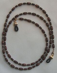Eyeglass-Chain-Holder-Wood-Brown-amp-Gold