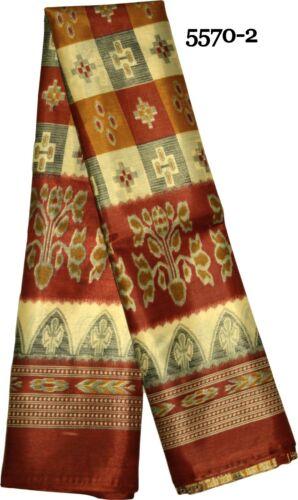 Floral Bird Animal Printed Beautiful Indian Art Silk Saree Sari Paisley Patola