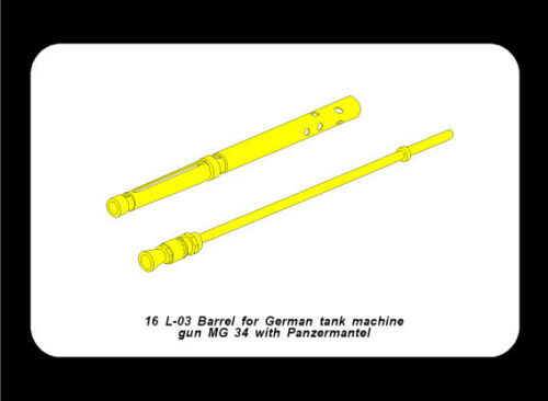 1//16 #L03 ABER BARREL MG34 PANZERMANTEL for GERMAN TIGER I /& II PANTHER PROMOTE