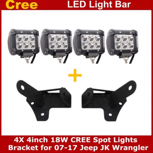 "4X4/"" 18W LED Work Light Pods+2x A-pillar Mount Bracket For 07-19 Jeep Wrangler"