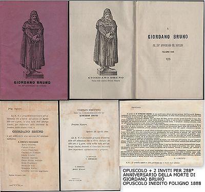 GIORDANO BRUNO PEL 288° ANNIVERSARIO DEL SUPPLIZIO-OPUSCOLO INEDITO-FOLIGNO 1888