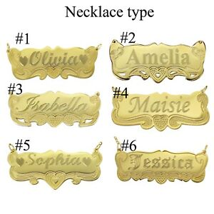 Name-Necklace-Personalized-14K-Gold-GP-Any-Name-Plate-Necklace-Producer-USA