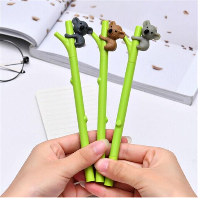 3pcs Cute Koala Gel Pen Green Branch Black Ink Pens 0.5mm Kids Writing Gifts NTF