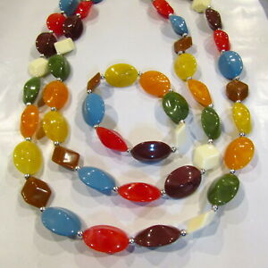 RED 70S BEADED NECKLACE FANCY DRESS 1970S