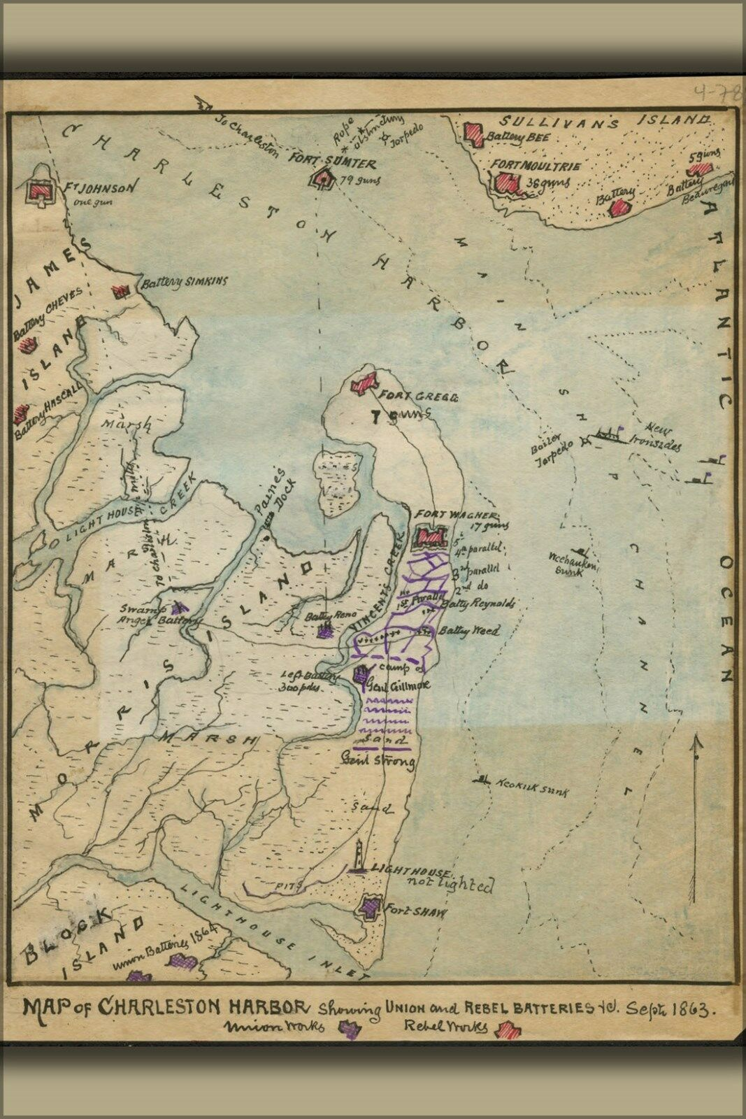 Poster, Many Größes; Map Of Charleston Harbor Batteries Sep 1863